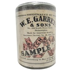 Snuff Advertising Tin SAMPLE W. E. Garrett & Sons