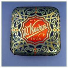 Advertising Candy Tin Art Nouveau and Gold Leaf Decoration
