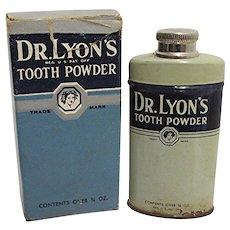 Dr. Lyons Sample Tooth Powder Advertising Tin 3/4 oz. Size Unopened In Original Box Medical Pharmacy