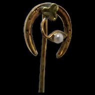Stickpin Horseshoe with Pearl and Clover