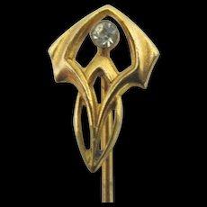 Art Nouveau Stickpin Gold Gilt with White Brilliant Strass Stick Pin