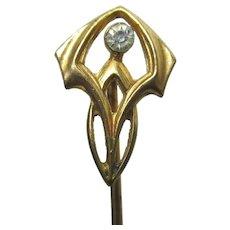 "Stick Pin Art Nouveau Head with Brilliant in the Center  2 5/8 "" Stickpin"