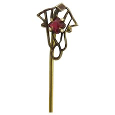 Stick Pin Gold Gilt with Garnet Center Stone