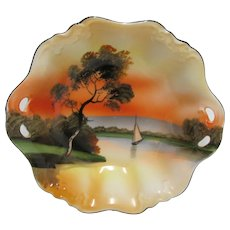 Noritake Porcelain Serving Bowl Hand Painted Scenic with Sailboat