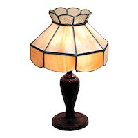Leaded Slag Panel Shade Table Lamp