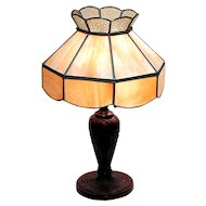 50% Off Sale Table Lamp with Leaded Slag Panel Shade