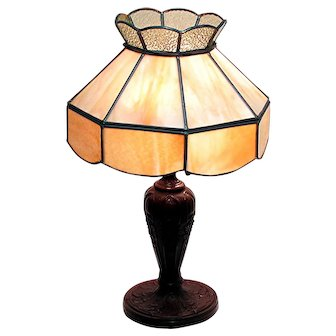 Table Lamp with Leaded Slag Panel Shade