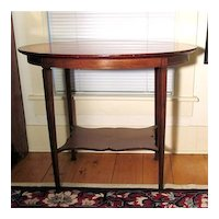 Marquetry Oval Center Table Mahogany