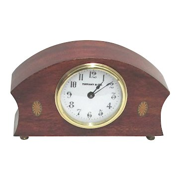 Antique French Edwardian Inlaid Desk, Table or Mantel Clock Retailed By Tiffany
