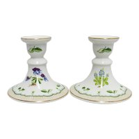 Candlesticks Porcelain Pair by Georges Briard Candle Sticks