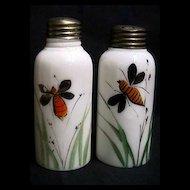 Salt and Pepper Shaker Set Antique American Opalware Glass
