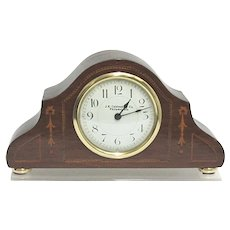 Antique French Inlaid Tambour Clock Retailed by J. E. Caldwell & Co. Philadelphia Mantle Clock