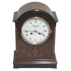Antique French Inlaid Bracket Clock or Mantel Clock by Tiffany NY