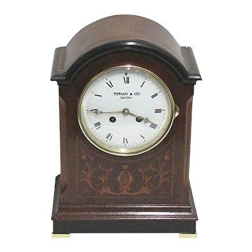 Antique French Inlaid Bracket Clock or Mantel Clock by Tiffany NY