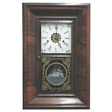 Antique Rosewood Miniature Wall Clock New Haven Clock Co.  OG