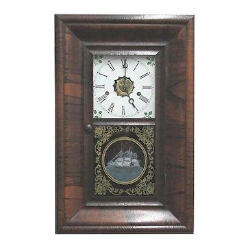 Antique Rosewood Miniature Wall Clock New Haven Clock Co.  OG