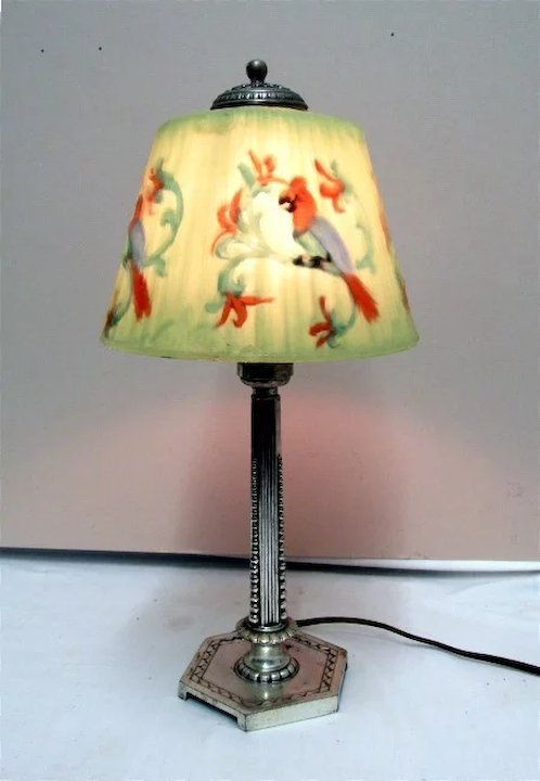 SOLD Table Lamp By Pairpoint With Blue Parrot Reverse Painted Shade