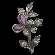 Antique Brooch or Pin Sterling Setting Amethyst and Rhinestone Floral