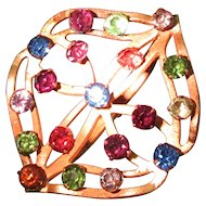"Hat Pin 8 ½"" Hatpin Art Nouveau Multi-Colored Stones"