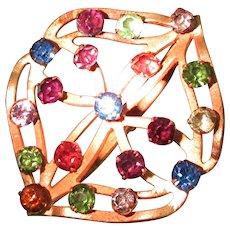 "Hat Pin 8 ½"" Hatpin Art Nouveau Multi-Colored Stones"