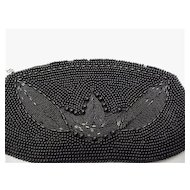 Hand Bag or Purse Black Beaded Clutch