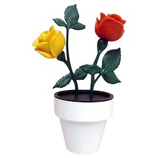 Salt Pepper and Sugar Table Condiment Set Red and Yellow Roses in Flower Pot