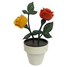 Flower Pot Salt Pepper and Sugar Table Condiment Set Red and Yellow Roses
