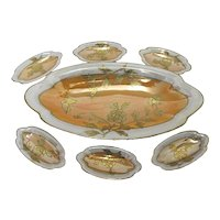 Lusterware Porcelain Relish Set Master Dish and Six (6) Individual Luster Ware Dishes