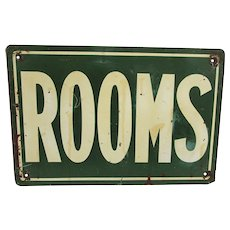 SOLD   August 2019  ROOMS Advertising Tin Sign Circa 1920