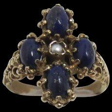 Lapis Lazuli and Pearl Ring Size 6 ½