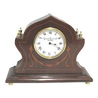 Antique French Mantel Clock Inlayed Walnut Mantle Clock