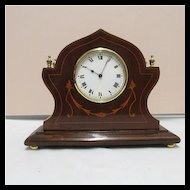Antique Clock French Victorian with Inlay Walnut Case