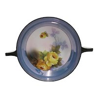 "Noritake Porcelain Lusterware Serving Dish 7 1/2"" Luster Ware  with Handles Hand Painted Yellow Roses"