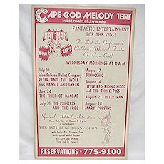 SOLD   Cape Cod Melody Tent Entertainment  Poster for Childrens Theater
