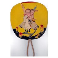666 Twins 1935 Advertising Fan Lithograph