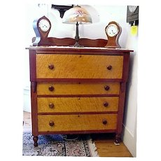 Cherry  and Birds Eye Maple Chest of Drawers Dresser