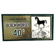 Advertising Beer Sign For Black Horse Brewery Lawrence Massachusetts