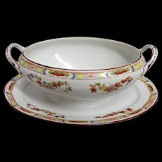 Nippon Porcelain Sauce Boat Serving Dish with Handles and Underplate