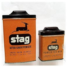 SOLD   Dec.  2020  Rexall Stag Advertising Talc Tins by Langlois