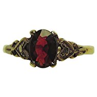 Garnet Ring Circa 1900 Antique Gold and Silver Setting Ring Size 8 3/4
