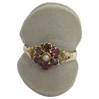 Antique Ring Amethyst and Pearl Flower Cluster  Victorian Size 9