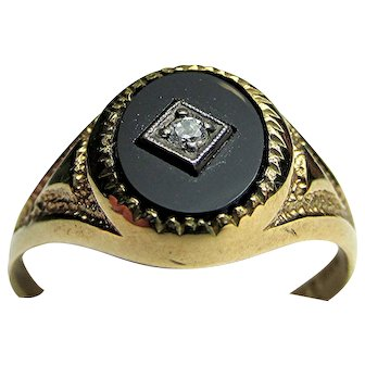 Onyx and Diamond 9 Carat Gold Antique Ring