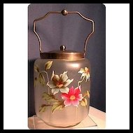 Biscuit Jar or Barrel American Glass Hand Painted
