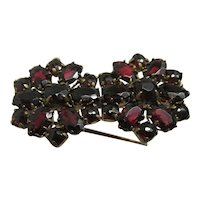 Antique Pin or Brooch Matching Garnet Flowers