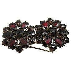 Antique Pin or Brooch Matching Garnet Flowers