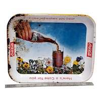 Coca Cola Metal Advertising Tray 1961 Pansy Series