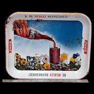 Advertising Coca Cola Tray 1961 Pansy Series Metal
