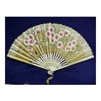 Rice Paper Floral Hand Held Fan Hand Painted
