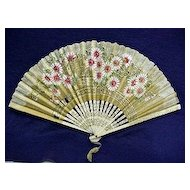 Fan Hand Painted Rice Paper Floral