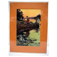 Fishing Print Signed Hintermeister 50% Off